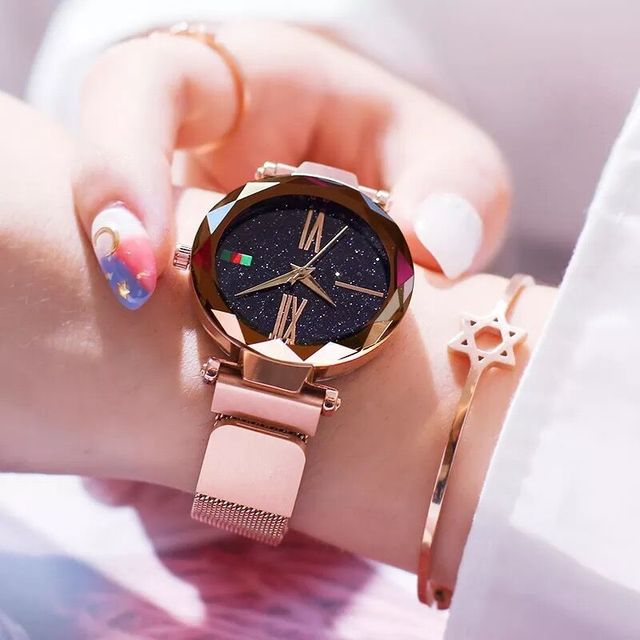 2019 Starry Sky Roman numerals Women's Watches Luxury Brand Rose Gold Magnetic L