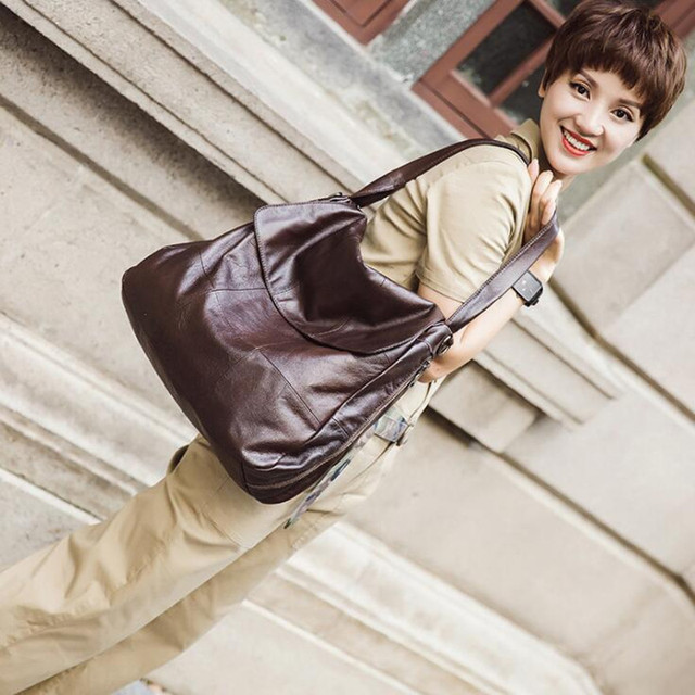 Women Genuine Leather Handbags Women Soft Messenger Bags Designer Crossbody Bag Women Big Tote Bag Ladies Vintage Shoulder Bag