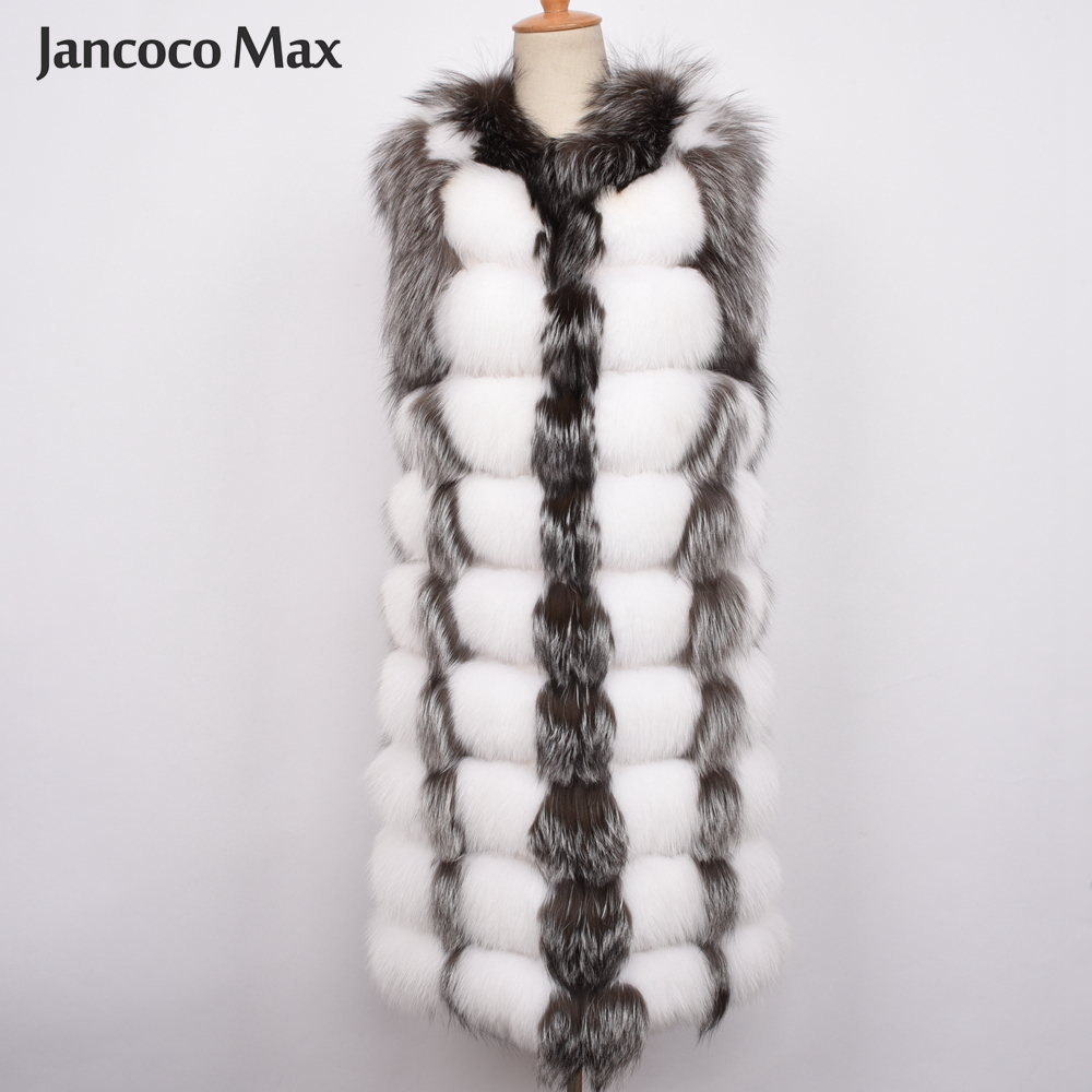 Silver Femmes Top De Réel D'hiver Naturelle Qualité Style 2019 BlackRed Mode Fourrure Luxe Long Gilet Lady S7460 white Fox Renard Fox f7bgyY6