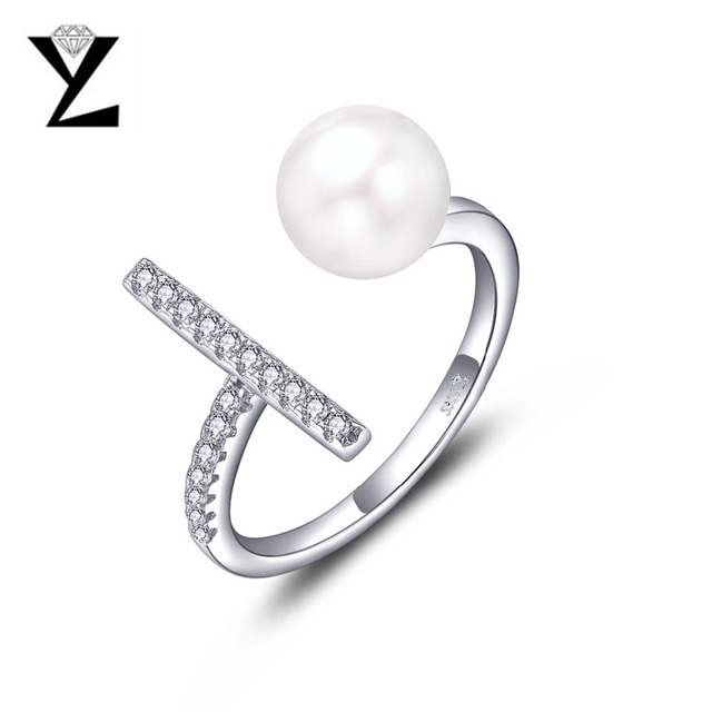 YL 925 Sterling Silver 8 mm Freshwater Pearl Ring for Women lkzLAkgkG