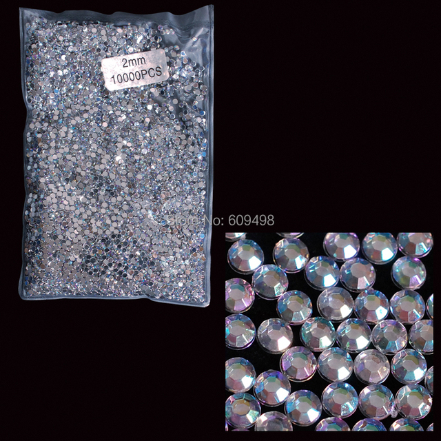 AB2  wholesale 10000pcs AB Color Acrylic Rhinestone Glitter 2mm Hot-fix Crystal Rhinestone Glasses diy Nail Art Decoration