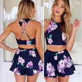 2016 New Backless Casual Crop Top And Skirt Set Off 2 piece set women Sexy O-Neck Strap Mini Print Blue Skirts