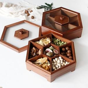 Image 1 - 유럽 크리 에이 티브 단단한 나무 사탕 상자 뚜껑 건조 과일 스낵 상자 홈 나무 견과류 멜론 스토리지 박스 결혼 선물