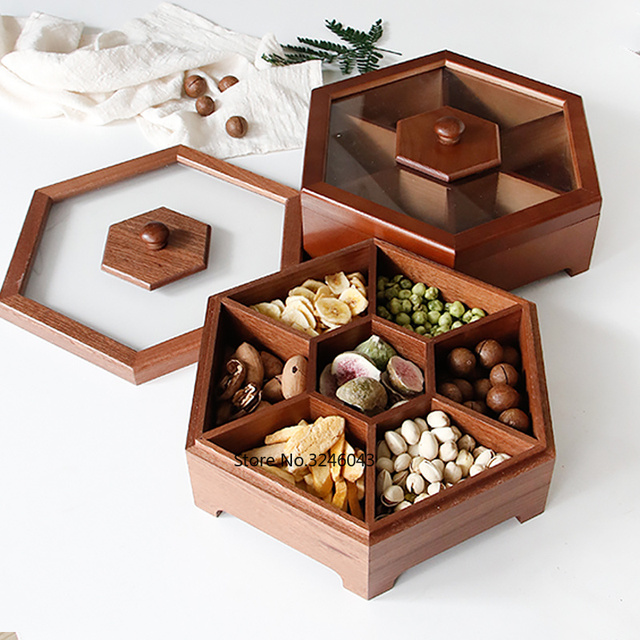 유럽 크리 에이 티브 단단한 나무 사탕 상자 뚜껑 건조 과일 스낵 상자 홈 나무 견과류 멜론 스토리지 박스 결혼 선물
