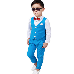 School Kids Suit for Weddings Birthday Party Flower Boys Tuxedo Formal Vest + Pants Children Piano Prom Performance Costume
