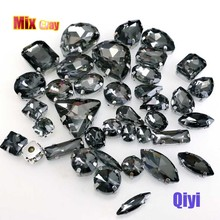 Sell at a loss! 50pcs/bag high quality mixed shape gray glass faltback sew on claw rhinestones,diy clothing accessories SWM03