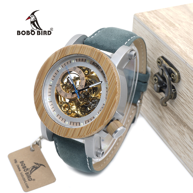 Bamboo Mechanic Watch Classic Bronze Skeleton
