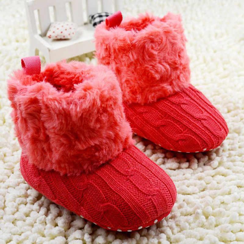 Hot Baby Zuigelingen Haak Knit Fleece Laarzen Peuter Meisje Jongen Wol Sneeuw Crib Schoenen Winter Warm Booties Babyschoenen Nieuwe
