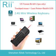 Rii mini k01 2.4G Wireless Keyboard Touchpad mouse Laser pointer Backlit Combo for HTPC Tablet Andorid/Smart TV Box PC Teclado