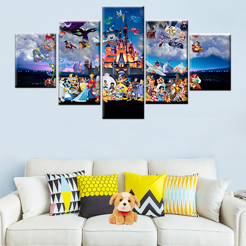 Cartoon Poster Wall-Picture Castle Beautiful Modern Canvas Mickey Children Room 5pieces