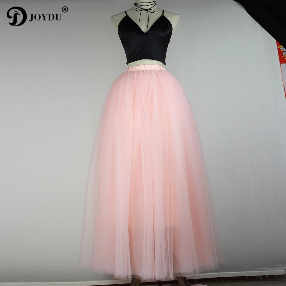 JOYDU Puffy 7 Layers Tulle Skirt American Apparel Maxi Tutu Skirts Womens 2017 Spring Summer Lolita Long Skirt faldas saia jupe
