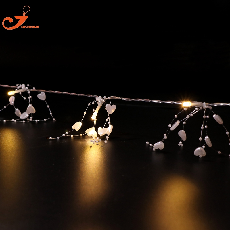 White heart bead light fairy lights AA Battery powered 10 LED string garland lighting wedding Decoration Party Christmas Xmas