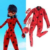 Kids Miraculous Ladybug Cosplay Costume Halloween Girls Ladybug Marinette Child Lady Bug Spandex Lycra Zentai