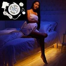 buy Motion Sensor Bed Light 1.0M 1.4M 2.0M PIR LED Strip Warm White with Automatic Shut Off Timer High Quality Sensor Night Light,image LED lamps deals