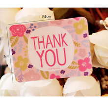 90pcs/Lot Romantic THANK YOU Pink Flowers sealing label Kraft Paper Cake baking Gift package Stickers