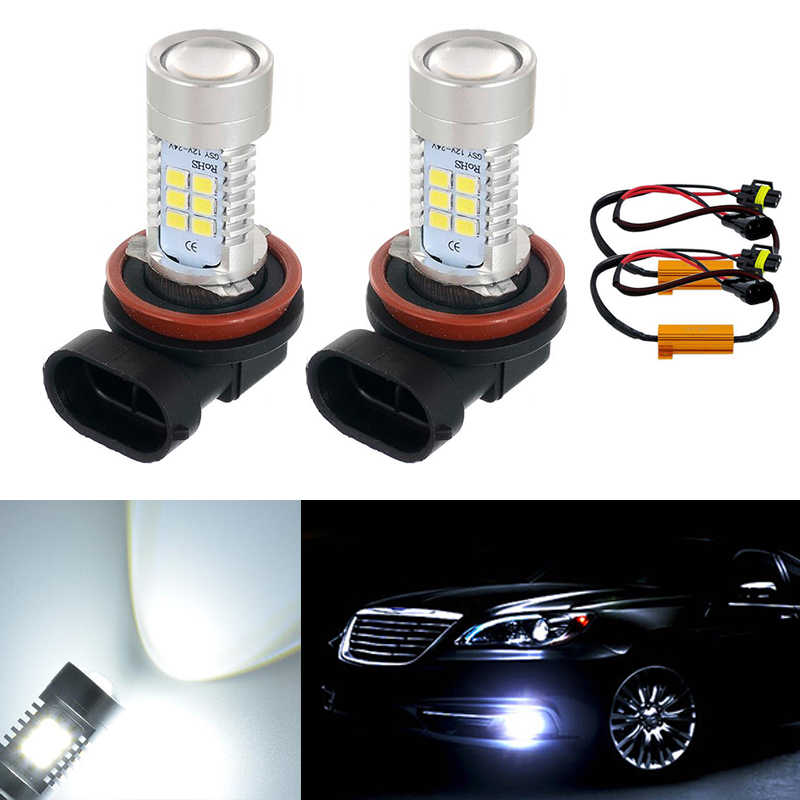 2xSUPER WHITE H11 LED Fog Light Bulbs Resistors Canbus FOR Mercedes C Class W204