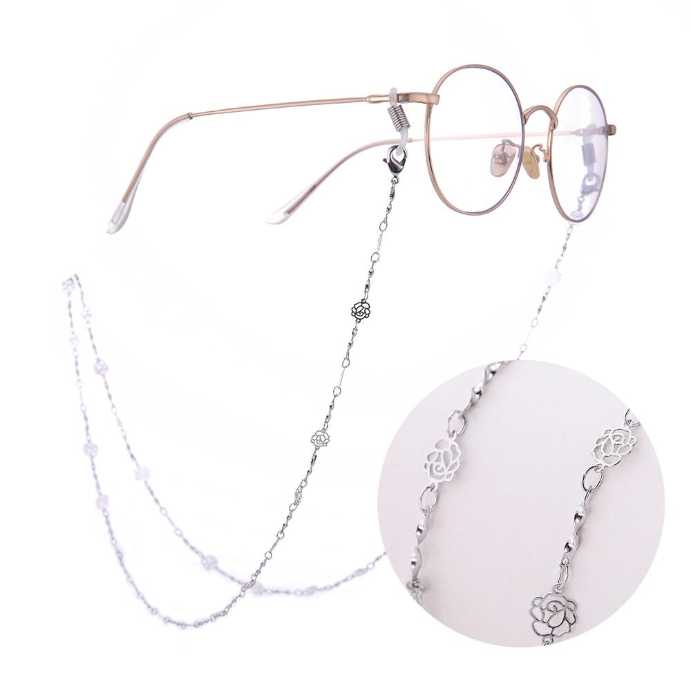 Fashion Women's Glasses Chains Hollow Rose Shape Eyeglass Cord Sunglasses  Chain Eyewear Holder Neck Strap Rope for Women Girls-Leather bag