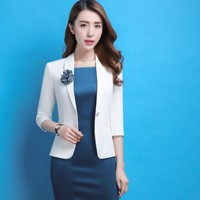 Formal Professional Business Work Wear Blazers Suits With Jackets Coat And Dress Slim Fashion Female Office Uniforms Plus Size