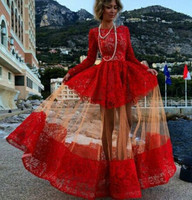 New Style Free Shipping Fashion Women Long Sleeved Lace Dress Skirt Dress Red Women Summer Casual