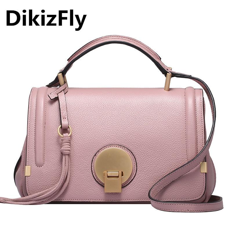 Original DikizFly famous brand Genuine Leather totes Flap bags women messenger bags New Fashion Round lock women handbags Tassel сумка через плечо new brand oppo 2015 bh146 women totes messenger bags