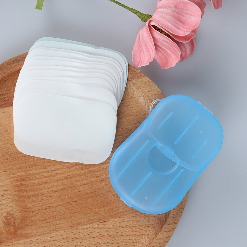 1 Box Portable Washing Hand Wipes Bath Travel Scented Slice Sheets Foaming Box Paper Soap Wholesale Drop Shipping 4 Colors