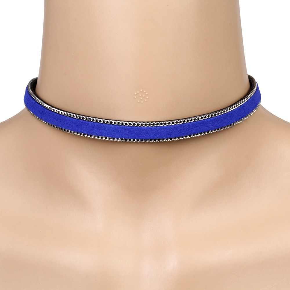 新ファッションスタイルの女性のジュエリーチョーカー人格襟ネックレス長さ調節可能なブルーブラックベルベットネックレス NS3621