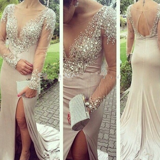 Online Shopping Sexy Transparent Mermaid Prom Dresses 2019Beaded Long Sleeves Pageant Party Gowns Front Slit Robe Soiree
