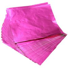 100pcs Praça Doces Doces De Chocolate Lolly Papel Wrappers Folha de Alumínio Rosa/verde/gloden(China)