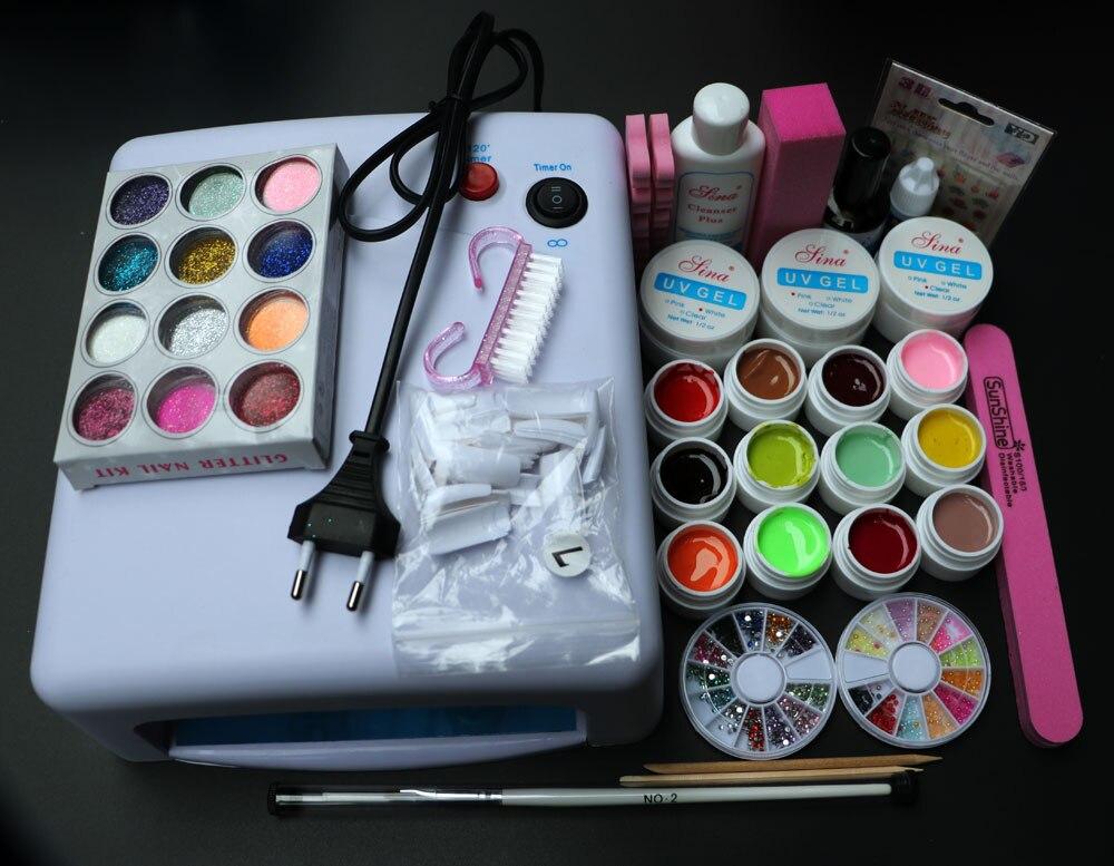 Professional Full Set 12 color UV Gel Kit Brush Nail Art Set + 36W Curing UV Lamp kit Dryer Curining Tools BTT-76  free shipping