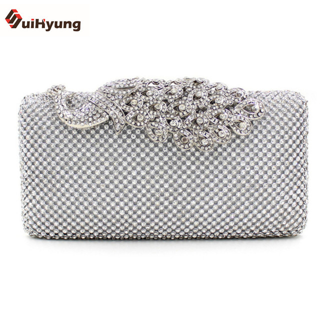 New Women Clutch Luxury Full Diamond Evening Bag Rhinestone Peacock Buckle Wedding Bridal Handbag Purse Shoulder Messenger Bag
