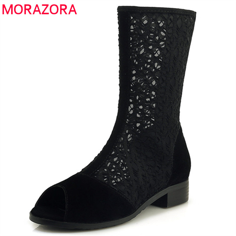 MORAZORA 2019 new arrival ankle boots for women peep toe sweet summer shoes zipper fashion hollow out punk ladies boots MORAZORA 2019 new arrival ankle boots for women peep toe sweet summer shoes zipper fashion hollow out punk ladies boots