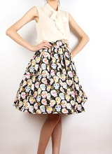 fc2b54125c7 40- women vintage 1950s skull print pleated swing skirt rockabilly pin up  skirts plus size