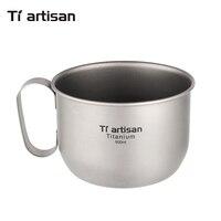 Tiartisan Pure Titanium Coffee Mug 500ml Titanium Milk Cup Cookware Pot Bowl with fixed handle Ta8351Ti
