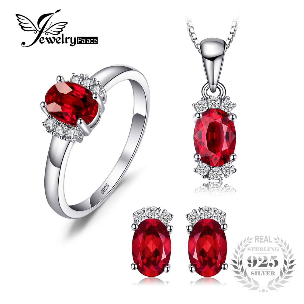JewelryPalace New 3.35ct Gemstone Genuine Garnet Ring Stud Earrings Pendant Necklace Jewelry Sets 925 Sterling Silver Chain 45cm