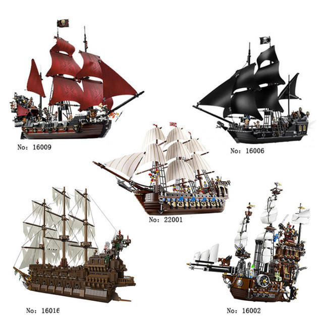 5 Lepin The Caribbean 16006 16009 Black Pearl Ship 16002 16016 22001 Movie Series Pirates LegoINGlys Model Building Kits Blocks lepin 16006 16016 pirates of the caribbean 16009 queen anne s revenge legoinglys 70618 black pearl model building kits blocks