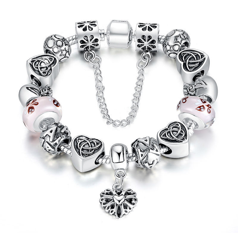 European Style Charm Bracelet For Women With Heart Letter Beads Pink Murao Glass Beads Wholesale A1825