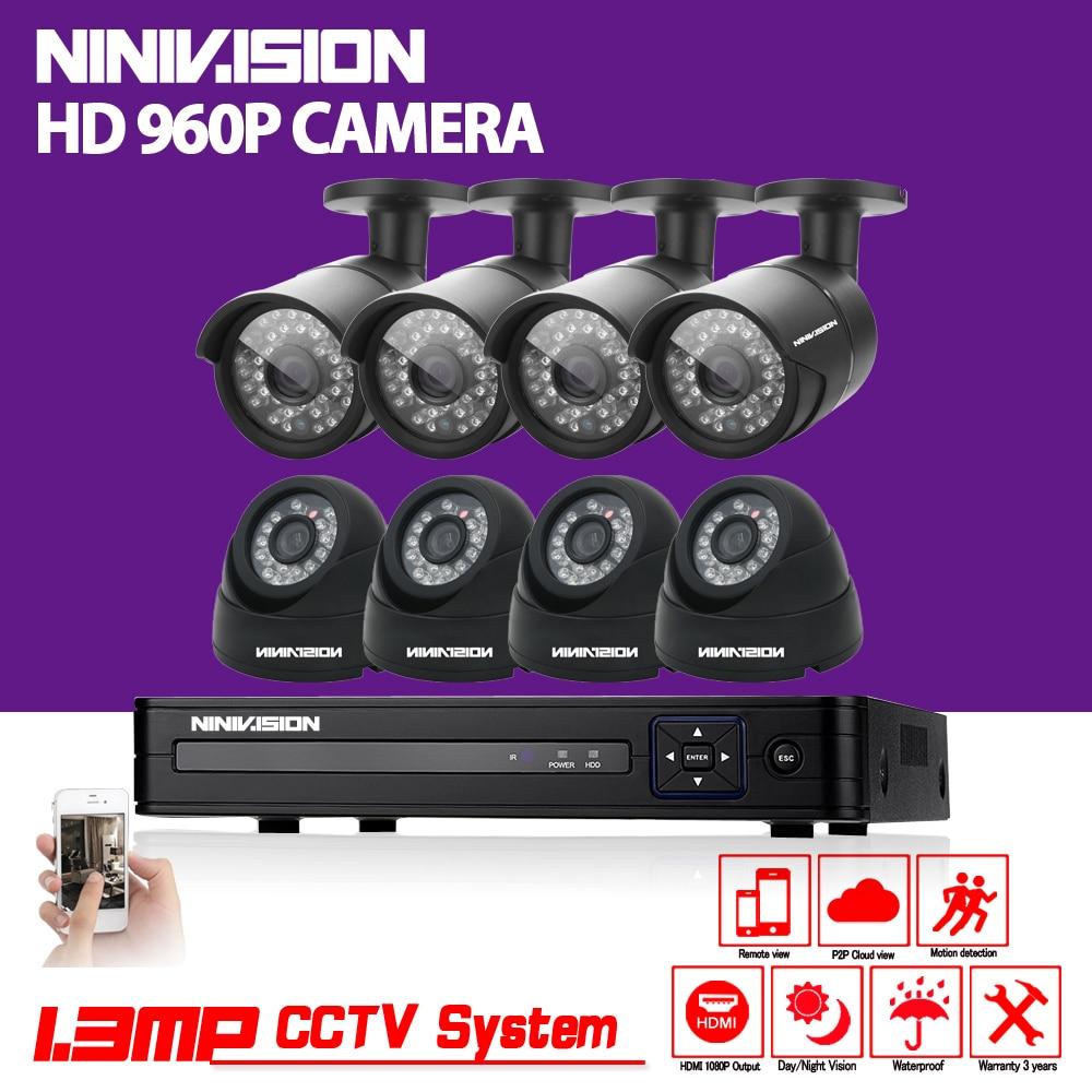NINIVISION 8CH AHD HD CCTV System 1.3MP CCTV Camera DVR Kit 960P 1080P HDMI Security Camera System Remote View seguranca em casa