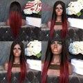 Новое Прибытие Ombre Красный Парик Человеческих Волос Шелковистая Прямая Полный Парик шнурка # 1bT # красный Ломбер 7А Бразильский Девственные Волосы Фронта Шнурка парики