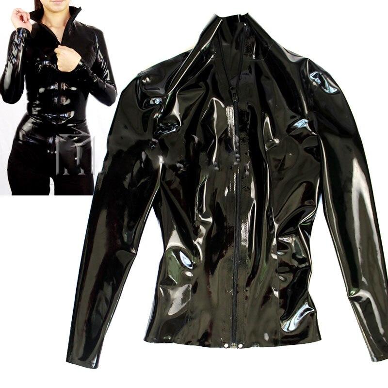 Black Latex Top Long Sleeve Rubber T SHIRT CUSTOMIZED