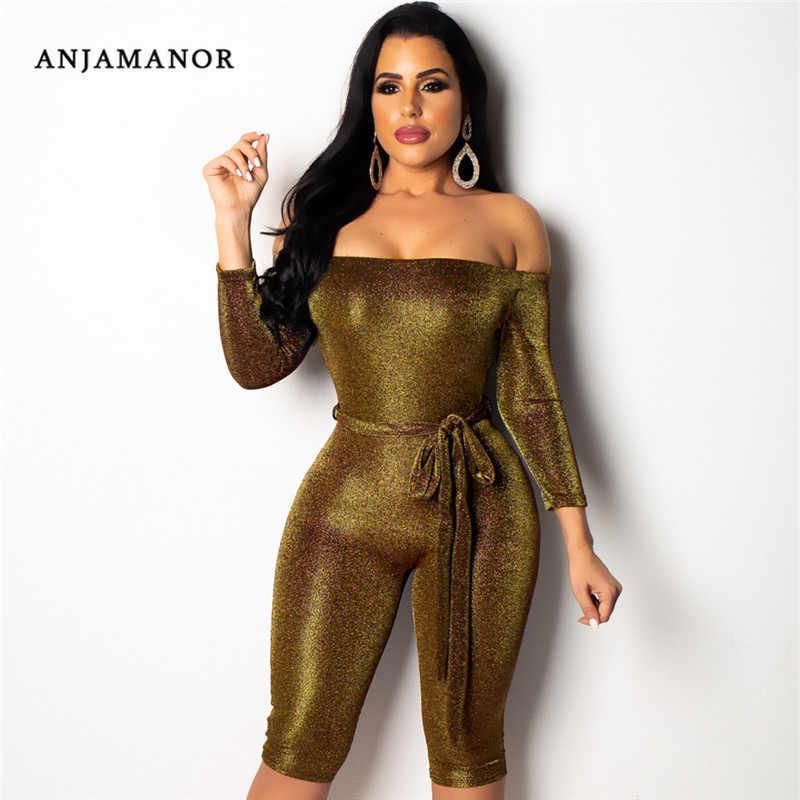 ANJAMANOR с открытыми плечами с длинным рукавом блестящий сексуальный Облегающий комбинезон женский спортивный костюм комбинезон шорты 2019 Playsuit комбинезон D90-BZ39