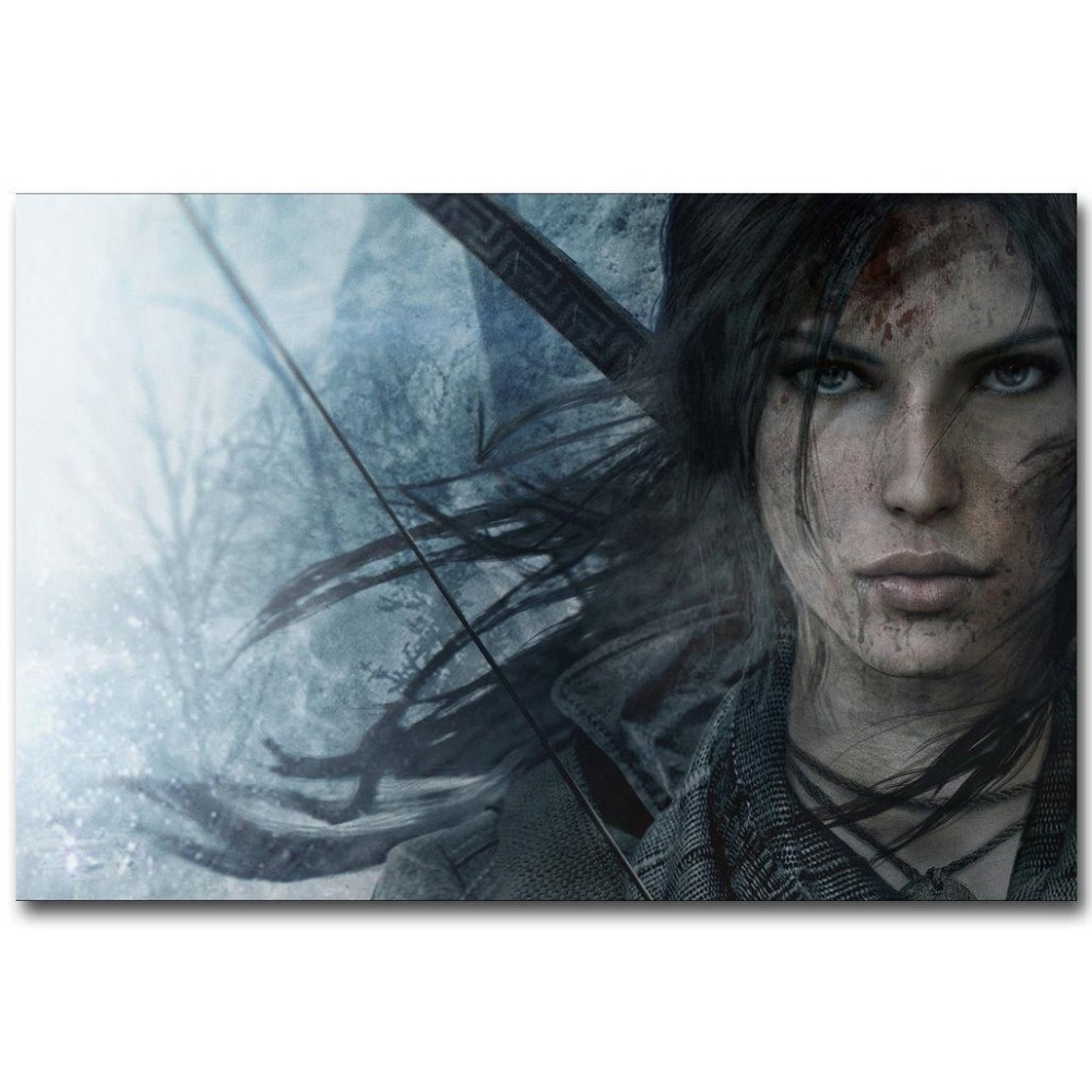 Rise Of The Tomb Raider Art Silk Fabric: Rise Of The Tomb Raider Hot Game Wall Sticker Home