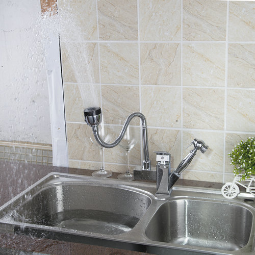 Double Function Kitchen Pull Out Chrome Swivel 360 Single Handle 92347B Brass Water Tap Sink Torneira