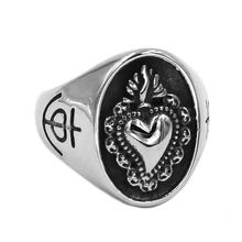 Fashion Crown Heart Ring Stainless Steel Jewelry Celtic Knot Motor Biker Symbol Wedding Ring for Women Girls Wholesale SWR0773A(China)