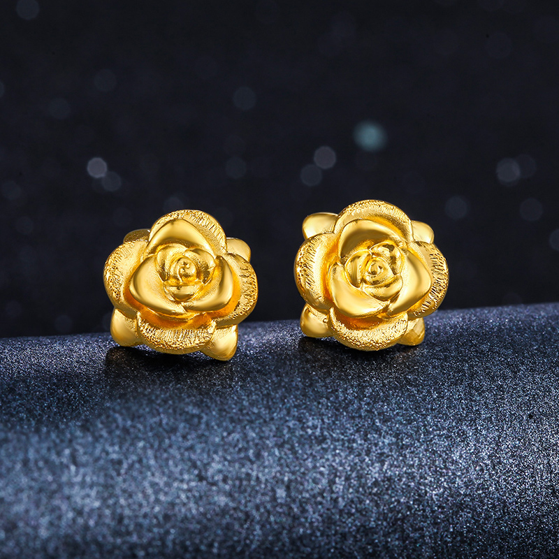 Us 123 69 7 Off Solid 24k Yellow Gold Earrings Women Rose Flower Stud 1 36g In From Jewelry Accessories On Aliexpress