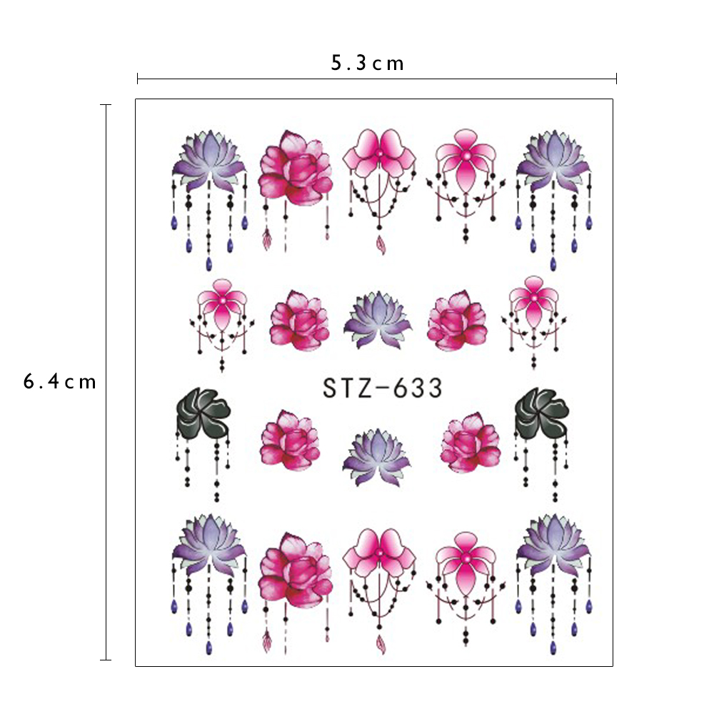 1pcs Nail Sticker Flower Water Transfer White Rose Necklace Jewelry Nail Water Decal Black Wraps Tips Manicure Sastz609-658 #5