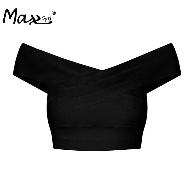 Max Spri 2017 New V neck Off Shoulder Women Bandage Crop Top Solid Sexy Bodycon Tank