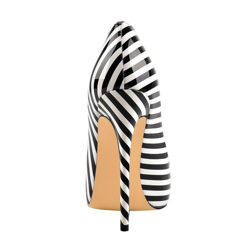 Onlymaker 2019 été femmes zèbre noir blanc rayure élégant 12CM chaussures de mariage à talons hauts US5 ~ US15 grande taille belles chaussures de fête-in Escarpins femme from Chaussures    2