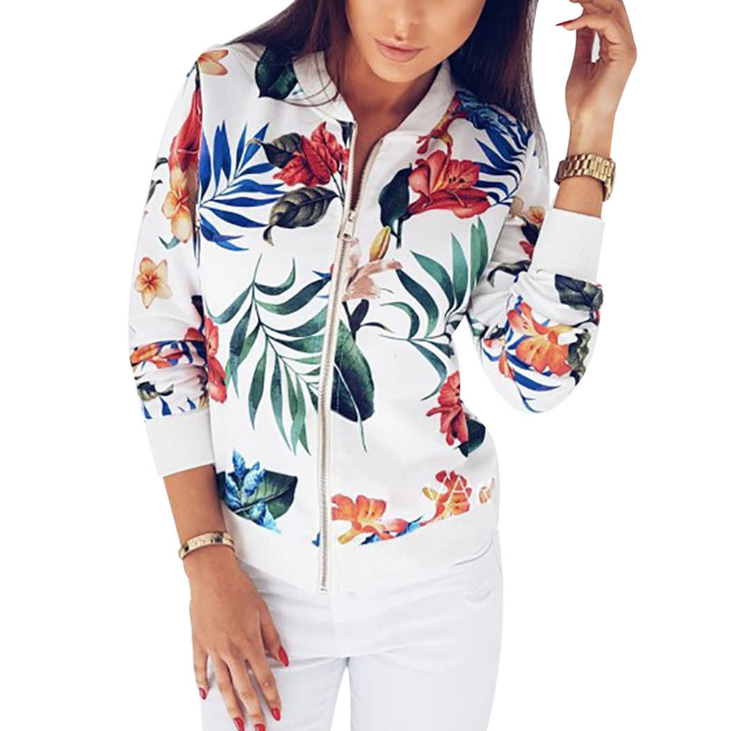 a2e149d7db2 ... Для женщин Цветочный принт пальто в стиле ретро на молнии Курточка  бомбер пальто Топы Осень Дамы ...