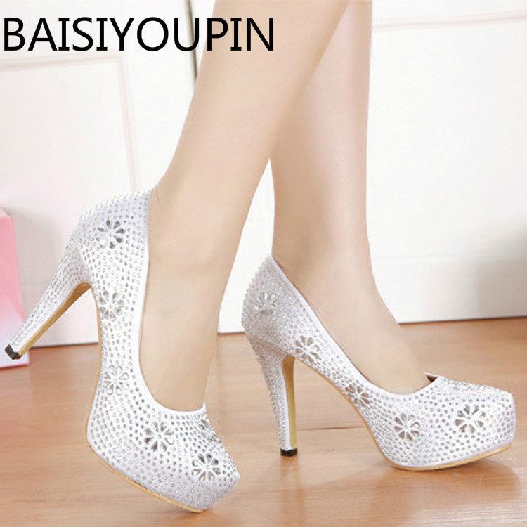 New Silver Ultra High Heels Shoes Women High-heeled Pumps Round Head Platform Rhinestone Club Bride Shoes Women Wedding Shoes crystal shoes wedding shoes silver ultra high heels high heeled shoes latin dance single shoes ruslana korshunova fashion