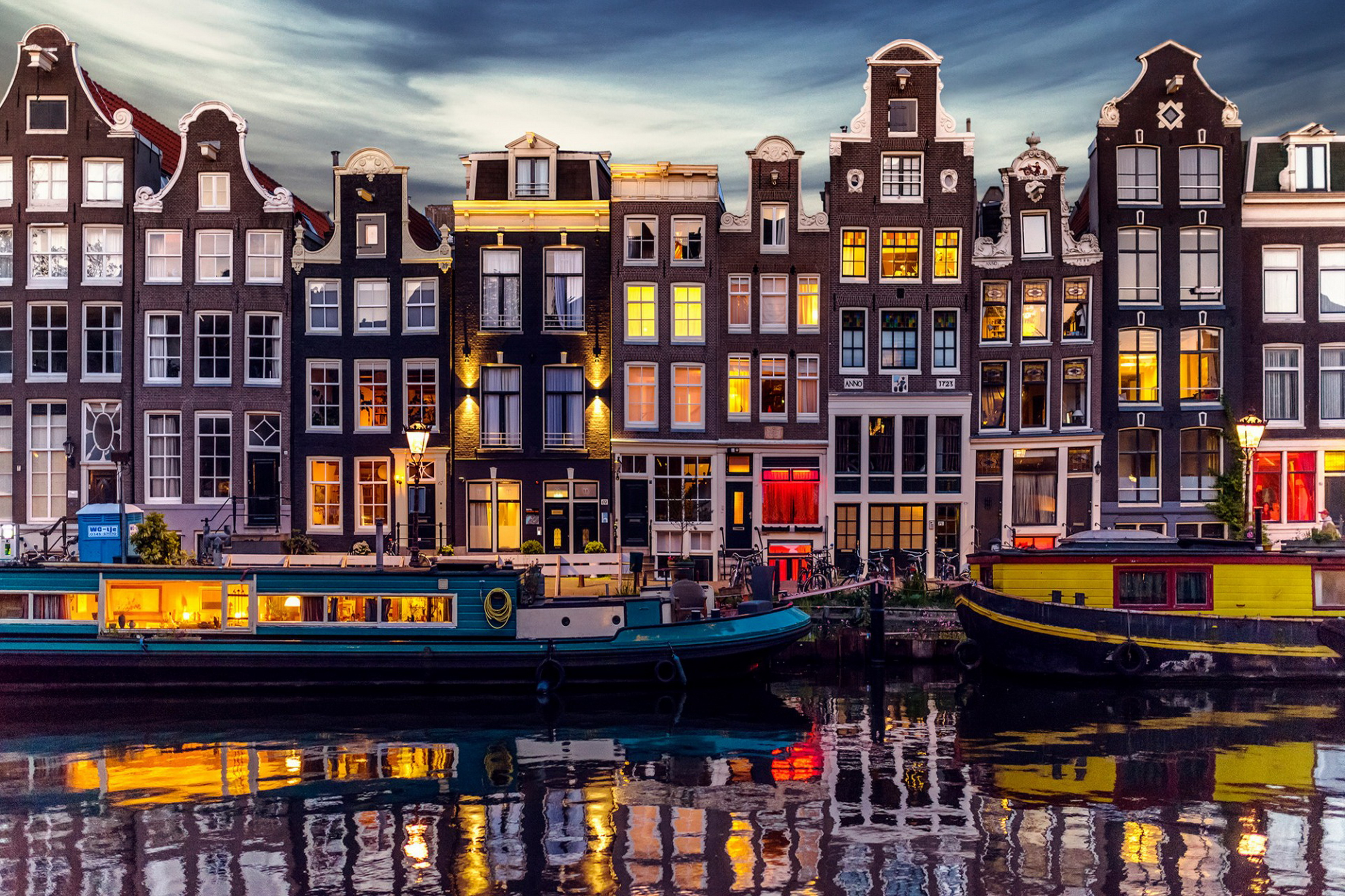Us 6 92 37 Off Home Decoration Netherlands City Amsterdam Evening House Lights Channel Nightscape Landscape Silk Fabric Poster Print Qt19 In
